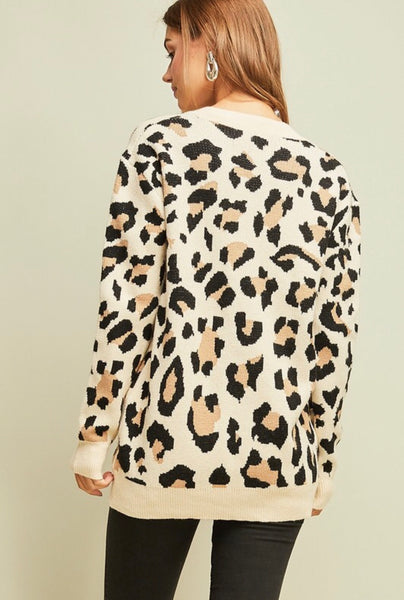 Taupe Leopard V-Neck Sweater