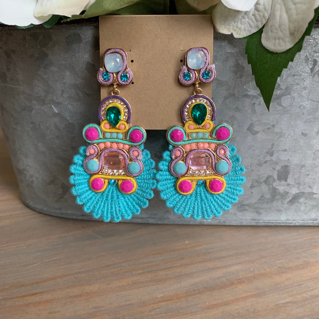 Turquoise Crochet and Beaded Earrings