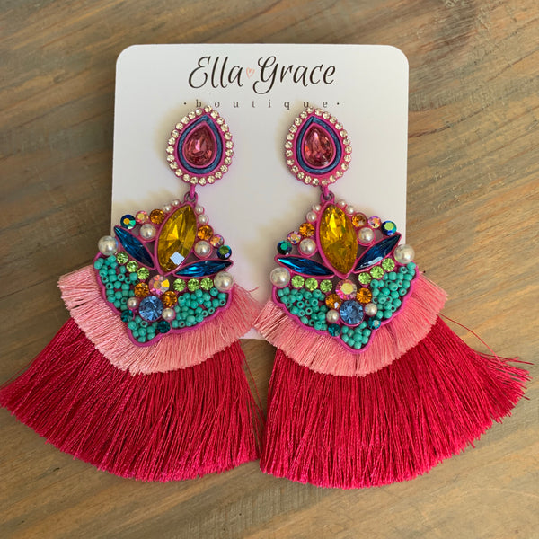 Fuchsia Beaded Fan Earrings