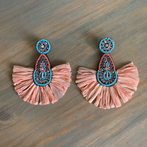 Peach Beaded Fan Raffia Earrings