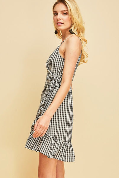 Black Gingham Wrap Dress