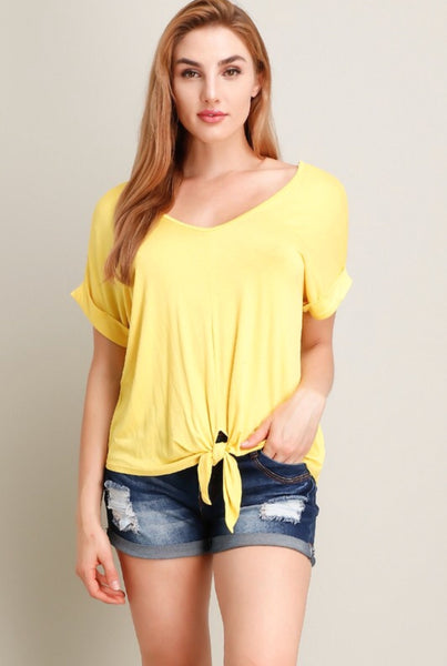 Yellow Tie Front Knit Top