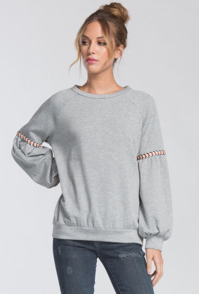 Grey Embroidered Sleeve Sweatshirt