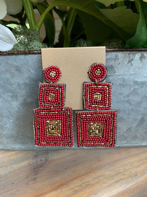 Burgundy and Gold Square Bead Earrings