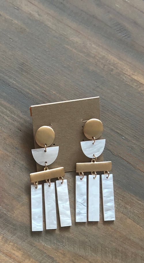 White and Gold Acrylic Tassel Earrings