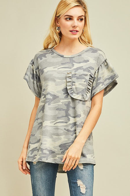 Camo Ruffle Sleeve Top