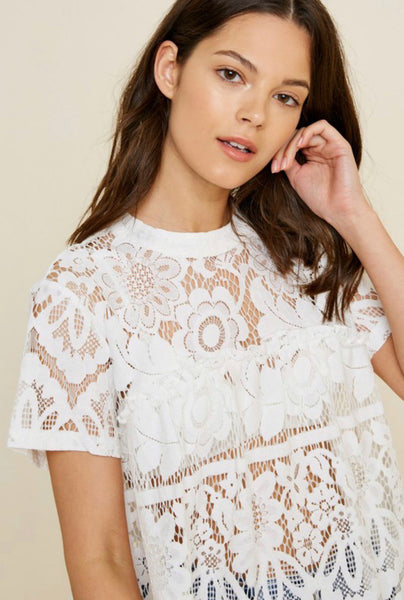 White Lace Ruffle Top