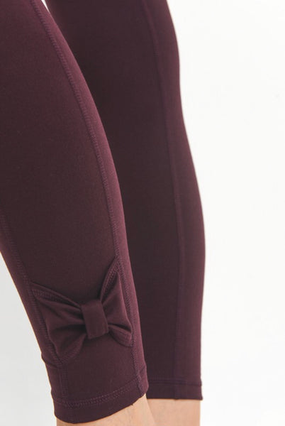 Burgundy Bow Active Leggings