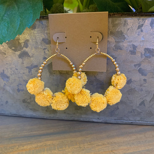 Marigold Raffia Pompom Beaded Earrings