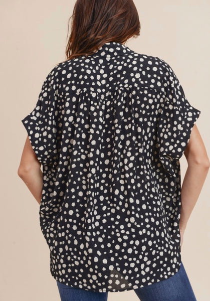 Black Spotted Button Up Top