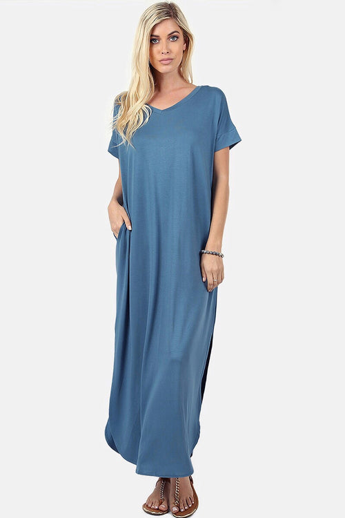 Titanium V-Neck Short Sleeve Maxi Dress