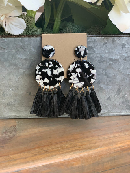 Black and White Acrylic Tassel Earrings