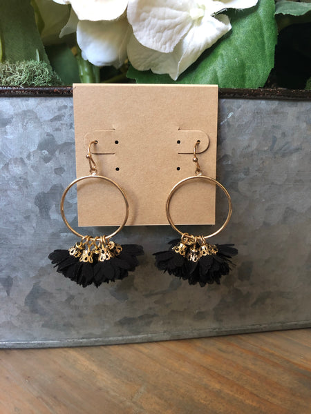 Black Floral Tassel Earrings