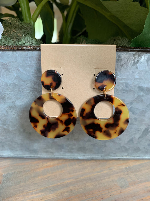 Tortoise Acrylic Double Disc Earrings