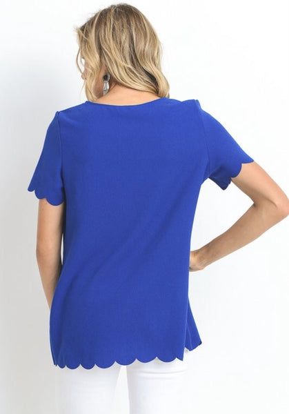 Royal Blue Scallop Edge Top