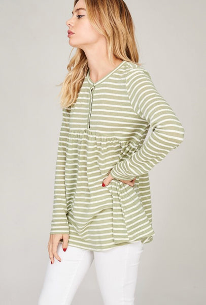 Sage and White Striped Top