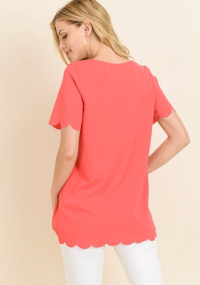 Coral Scallop Edge Top