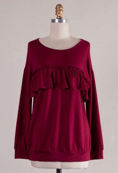 Burgundy Ruffle Knit Top