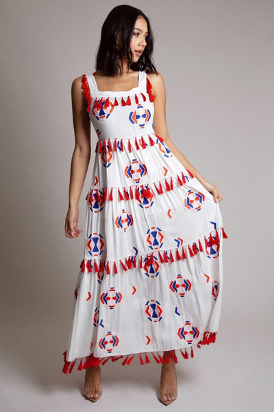 Red Tassel Embroidered Maxi Dress