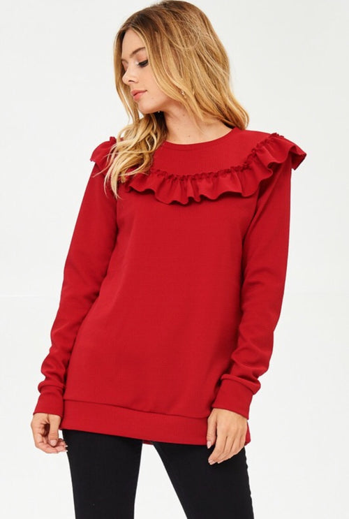 Red Ruffle Long Sleeve Top
