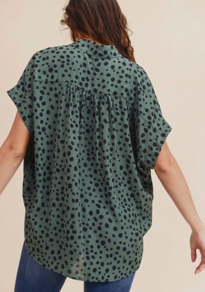 Sage Spotted Button Up Top