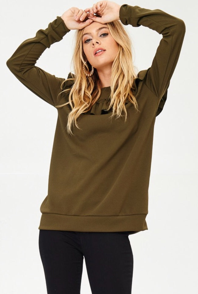Olive Ruffle Long Sleeve Top