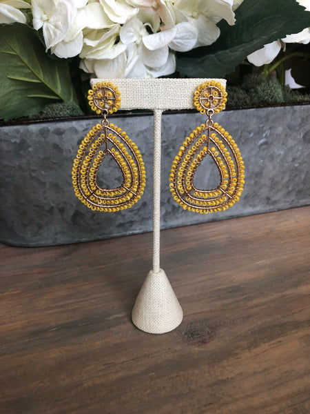 Mustard Seed Bead Teardrop Earrings
