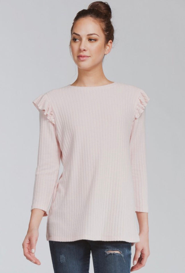 Dusty Pink Ruffle Shoulder Top