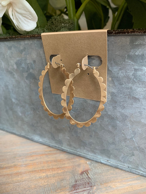 Matte Gold Scallop Oval Hoops