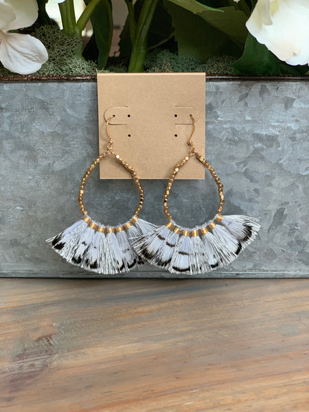 Gray Teardrop Feather Fan Earrings