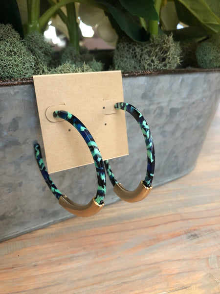 Green Marbled Acrylic Hoops