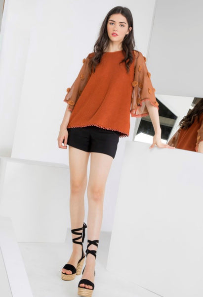 Rust Pom Sleeve Knit Top
