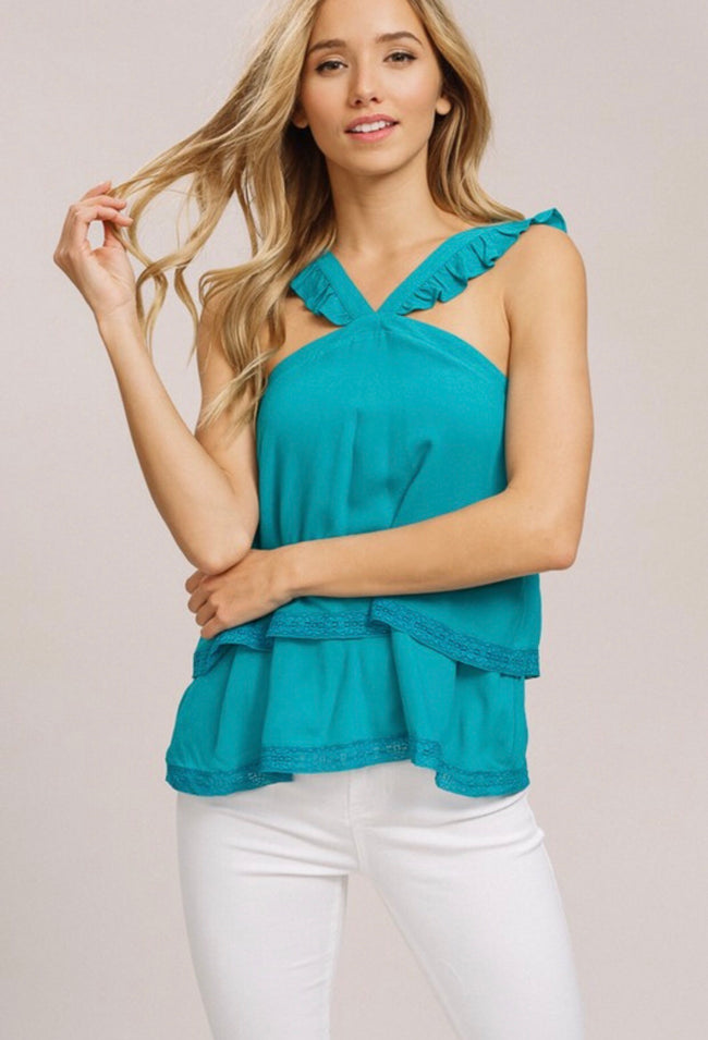 Emerald Ruffle Layered Top