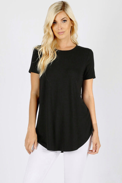 Black Basic Round Neck Top