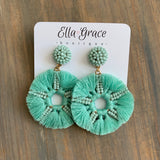 Mint Tassel Circle Earrings