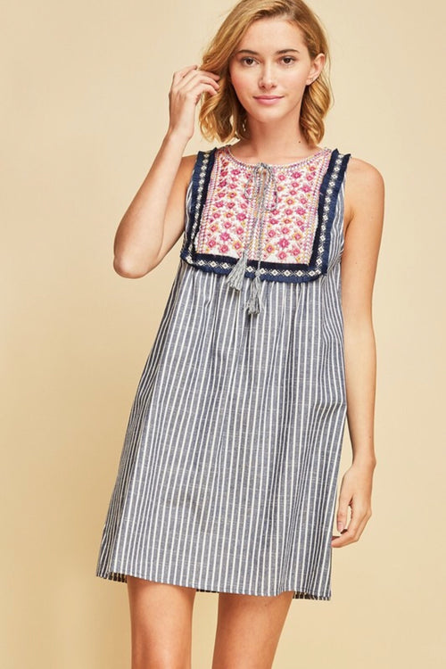 Chambray Stripe Embroidered Dress