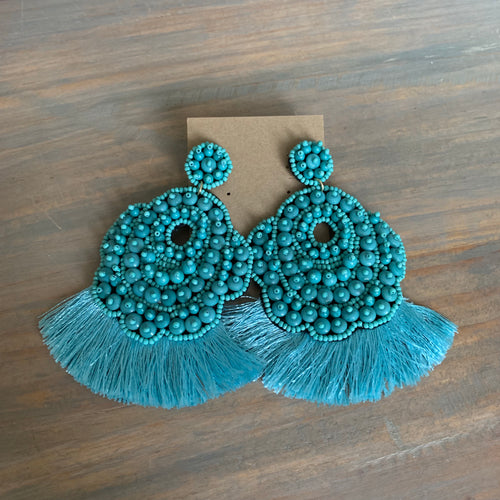 Turquoise Seed Bead Tassel Earrings