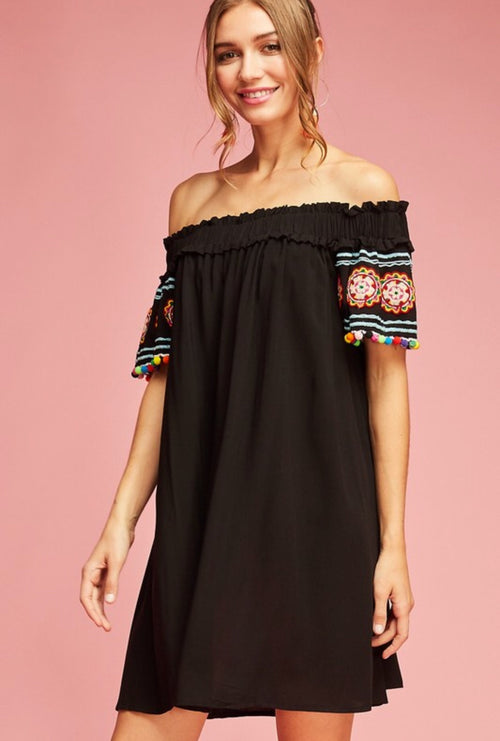 e35ce210bb Black Pom Pom Off The Shoulder Dress