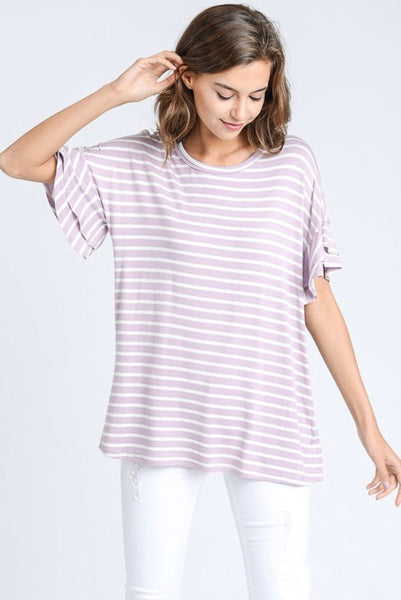 Lavender and Ivory Striped Top