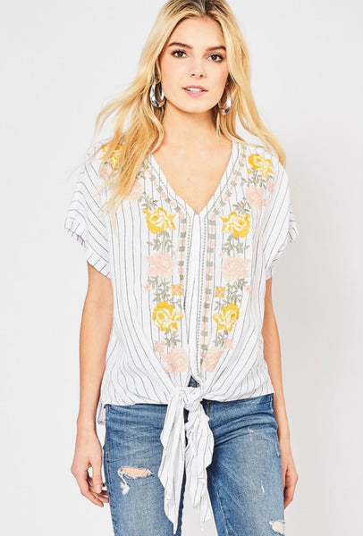 Floral Embroidered Stripe Tie Front Top