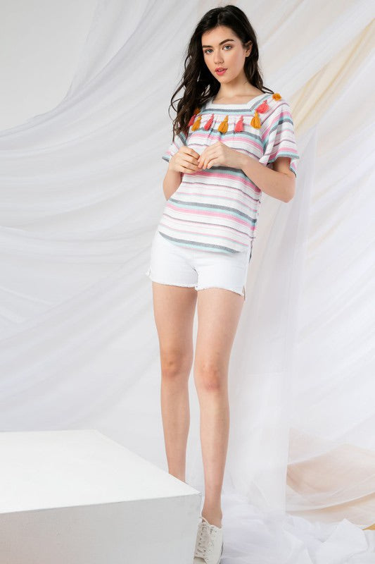 White Multi Colored Stripe Tassel Top
