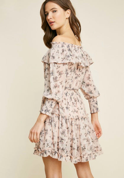 Blush Floral Off Shoulder Dress