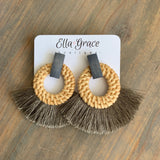 Grey and Rattan Fringe Earrings