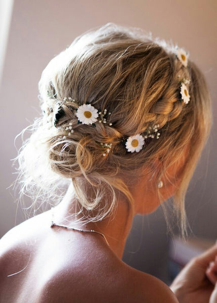 floral wreath in hair