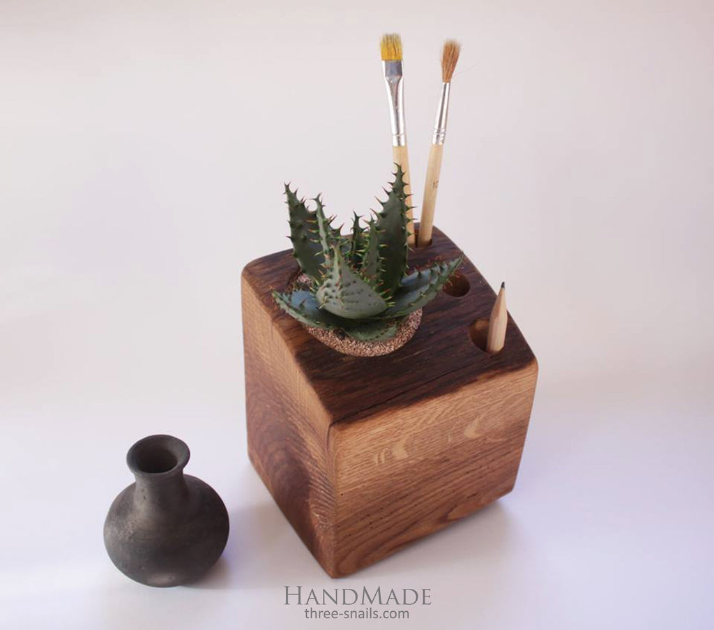 Wooden pot for aloe