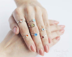 colorful silver rings