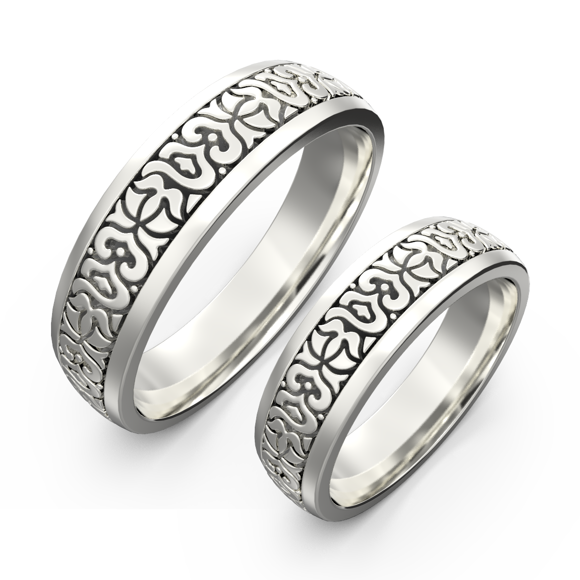 Gold carved ring band set - 1