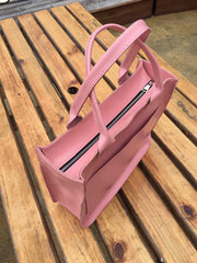 Leather pink tote - 4