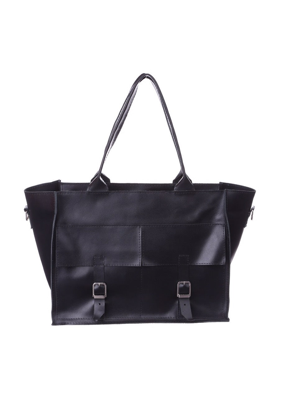 Big black leather tote bag - 1