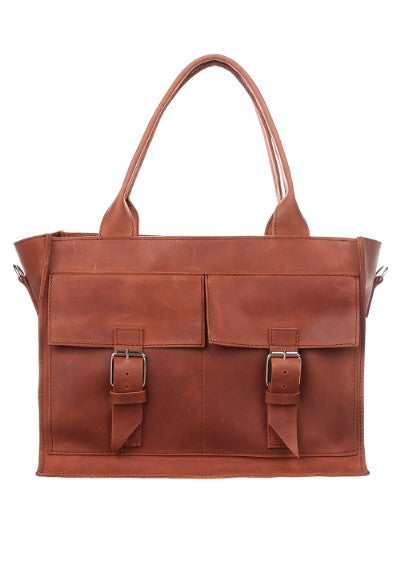 Brown leather tote with zipper - 1